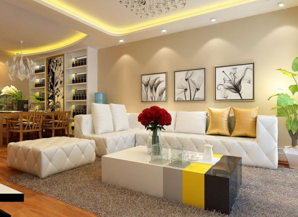 设计理念:客户喜欢客厅具有简约、时尚、舒适而且干净的环境、在设计中运用了大面积背景墙和沙发做主体色显得干净不凌乱。 亮点:从客厅阳台一眼看过去整体空间比较协调而且亮堂。