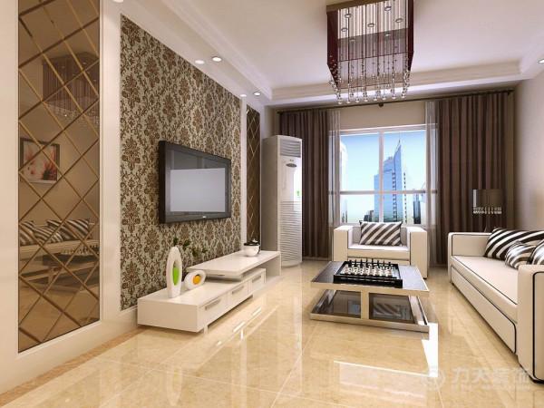 电视背景墙是茶镜与神色欧式壁纸的搭配,褐色和白是时尚界永恒的色彩,永不过时,为家居空间增加了时尚感。水晶灯和整体互相辉映着,整个空间的艺术效果便体现出来了。