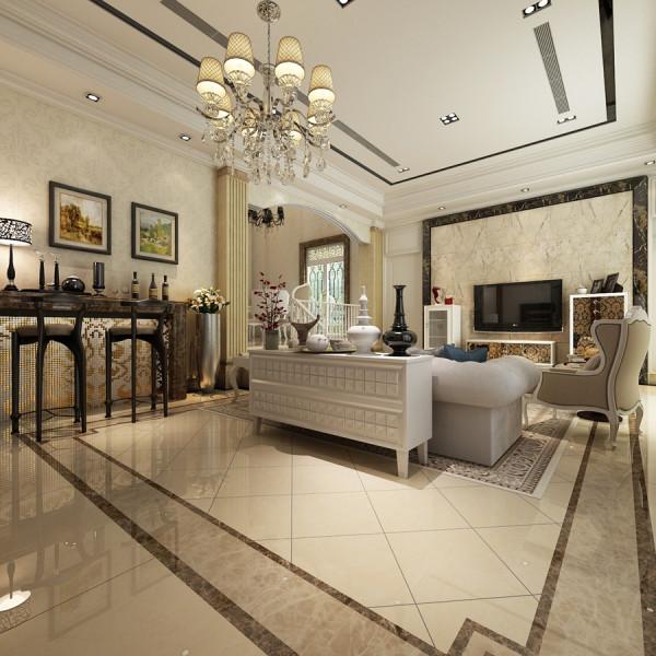 精细的木质纹理和质感强烈的欧式沙发定下了整个空间的稳重基调
