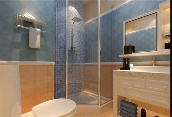 在格局不大的空间里,设计师充分利用所以空间,带柜子的洗手盆,实用又时尚