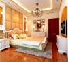 主卧跟客厅的元素类似,大型灯池吊顶、床头背景采用金色软包镶嵌,整体配上金黄色的壁纸、乳白色的家具,显得雍容华贵,毫无复杂之感。
