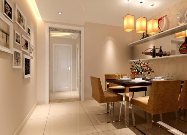 餐厅空间位于客厅及走道之间,起到承上启下的作用,整体色调自然衔接过渡,隔板设计增加摆设和储物,茶镜设计与客厅遥相呼应。