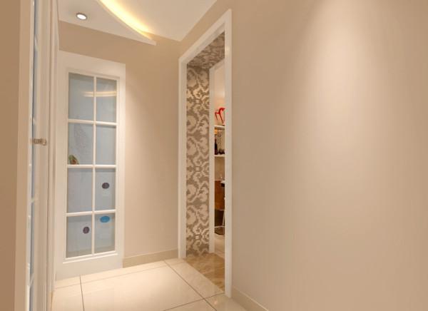 通过极致围合的曲线设计改变狭长而拥挤的走道空间。 亮点:吊顶的设计让整体空间更加立体,卫生间门彩艺玻璃点缀的处理让空间更有亮点。