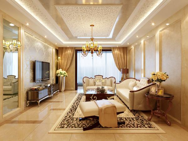 客厅比较细而长,客户感觉功能划分不明显,所以在设计手法上设计师采用了4根大理石柱子,这样风水比较完美,这样餐厅客厅和门厅划分的相当淋漓尽致.