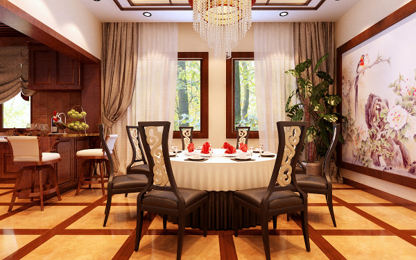 设计理念:餐厅是开放式空间中最为匠心独运的设计之作,利用巧妙的储藏空间,让那些喜好与情趣都在这里找到了安身之处。