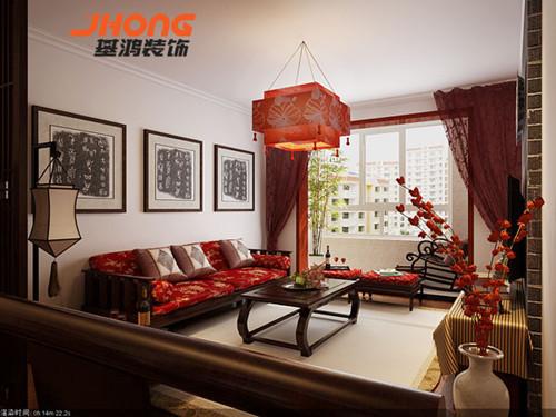 在大厅的装修设计上主要用红色渲染中国对传统喜庆,在加上天花板上红色吊灯的点缀,突出中国古典文化元素的存在,同时运用窗户应和采光和风景原视的作用,加上陶瓷花瓶里红色梅花的陪衬,渲染中国元素。