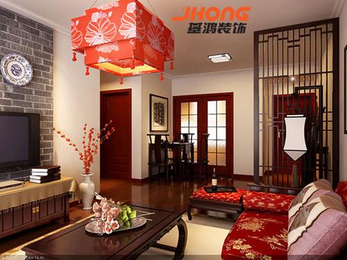 传统中国元素设计主要还是以大厅的主题色红色为主,桌子圆木椅子以及能够十分体现中国传统文化的毛笔字画的挂画来体现。灯光的配合和部分装饰主材:仿古砖、实木地板等的运用,都是同样在宣扬这中国文化这一主题。