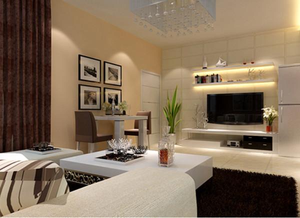 亮点:为了营造主人喜爱的现代时尚,客厅的设计在细节处格外讲究。电视主墙精心贴覆华贵的皮纹砖