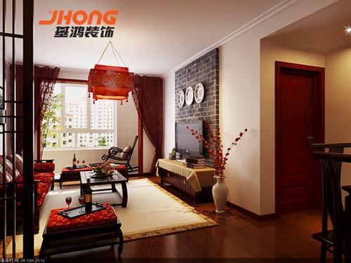 现代中国元素的中国装修不一定都集合古典卧室文化来装修,在大厅设计这块,当初主要是考虑集合典雅氛围,而不是哪一点单独的点缀。