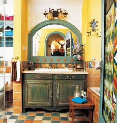地中海混搭风格装修:如春天般绚丽的浴室,大胆地拥抱色彩,最私密的也是最炽烈的,如同人的内心。