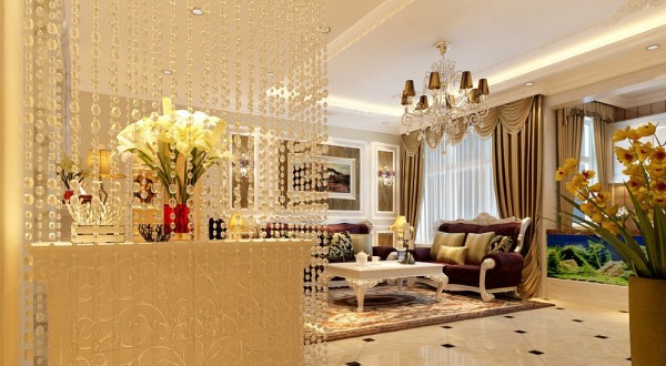 客厅:客厅弧形垭口的造型设计,突出凹凸感,优美的弧线给房间增添了活力,与沙发背景线条相应感趣,风情万种。