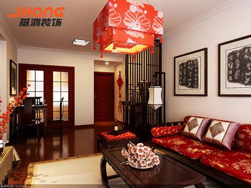 中国红色装饰的使用以及挂画的搭配,其主要体现高贵生活品质,同时可以反映饱含着中国的古典文化气息,对整体空间恰当布局,使得本案无论从空间规划还是立体效果来讲,都能体现一件作品的优势。
