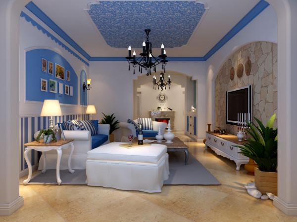 客厅:客厅的电视背景采用的是文化石,沙发背景用欧式石膏平线、壁纸、漆做造型,使得整个空间的空间感更强