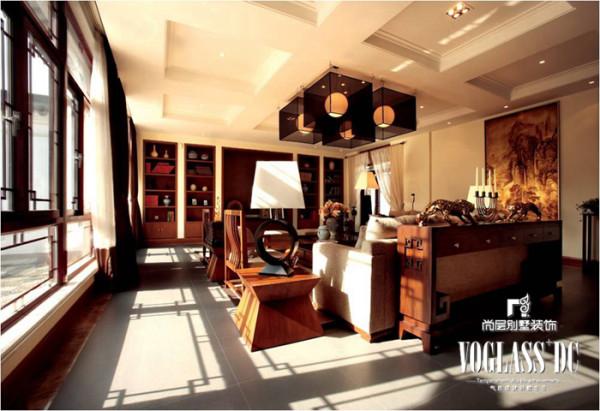 燕西华府 300平米  新中式风格 客厅设计
