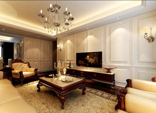 家具:与硬装修上的欧式细节应该是相称的,选择暗红色或白色、带有西方复古图案、线条以及非常西化的造型,实木边桌及餐桌椅都应该有着精细的曲线或图案。
