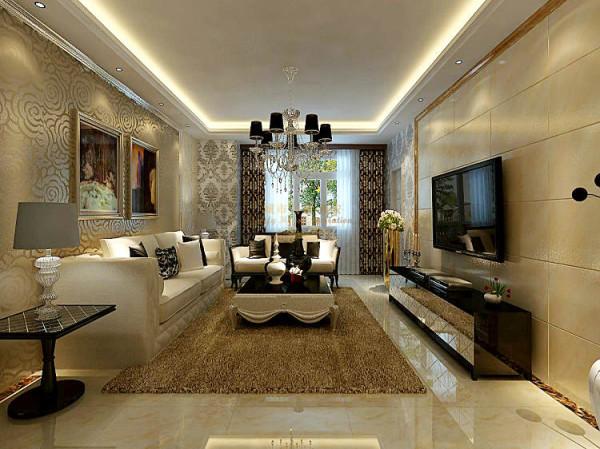 客厅电视墙面利用简洁的微晶石做成墙面装饰,间配马赛克、艺术花砖与钨钢素材,显得利落干脆,让整个空间的视觉效果更加通透,化凌乱为统一。