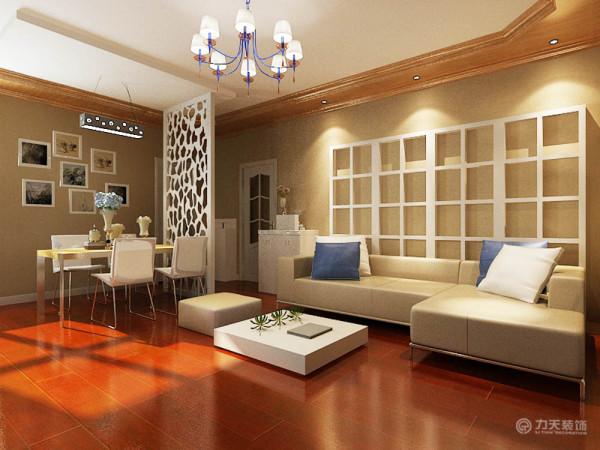 客厅以浅色为主,沙发背景用镂空的框框做装饰,整体宽敞,温馨舒适。