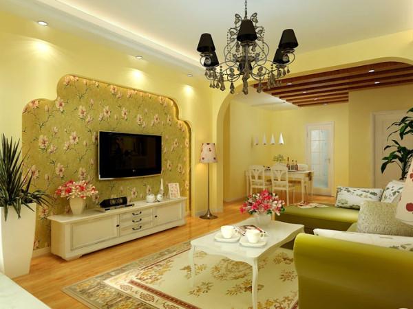 淡黄色是客厅的主色调,它有孩子的淘气也有公主的范儿,田园的皮艺沙发也呼应了孩童般的玩闹。