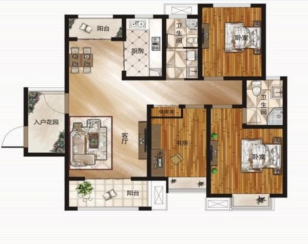瀚海泰苑户130平米3室2厅户型图