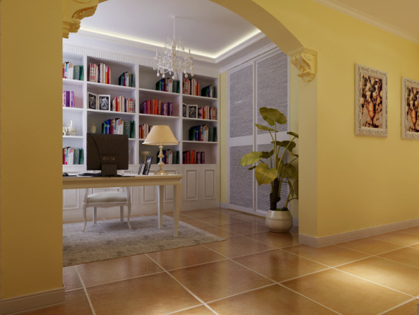 书房用米驼色的色调产生出宁静与柔美而且采用开放式,在业主阅读的时候感受到广阔的空间而不会太过压抑。