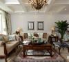 在别墅空间的设计中,复古做旧的美式家具成为空间内的主角,蓝绿色是空间内的主要点缀色,布艺的用品作为主要的空间中最常用的别墅配饰进行使用。美式家具、中式摆件、田园式窗帘共同构成了客厅的空间组成。