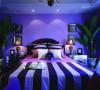 紫色的深入浅出,烘托出浪漫的卧室空间。欧式大床、床头柜等家具线条流程,床头柜的现代设计和处理手法,让空间流露出古典、隽永的质感。