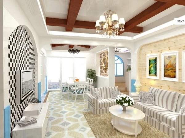 这是一套地中海风格的设计案例,拱形门、生态木吊顶、马赛克、以及蓝白色调的搭配都得到合理的展现!