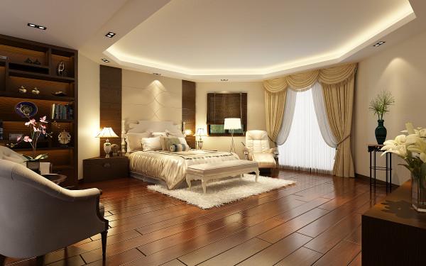 设计理念:卧室以温馨为主,作为主人的私密空间,主要以功能性和实用舒适为考虑的重点,用温馨柔软的布艺来装点,选择舒适的大床,同时在用色上注重统一。