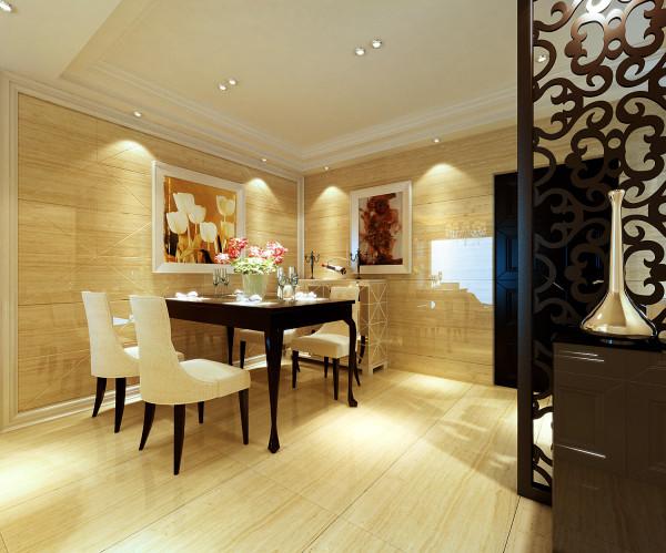 亮点:墙面砖的特殊拼装法,用玻化砖上墙,使餐厅更时尚、现代感强,色彩用浅黄色调,显得家庭的温馨幸福。