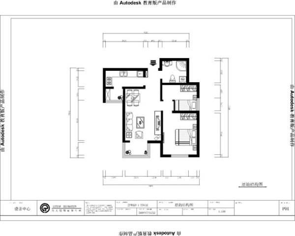 设计说明 此户型设计为两室一厅一卫一厨的居民住宅 本方案以简约风格为主 体现了现代生活居住的时尚风格