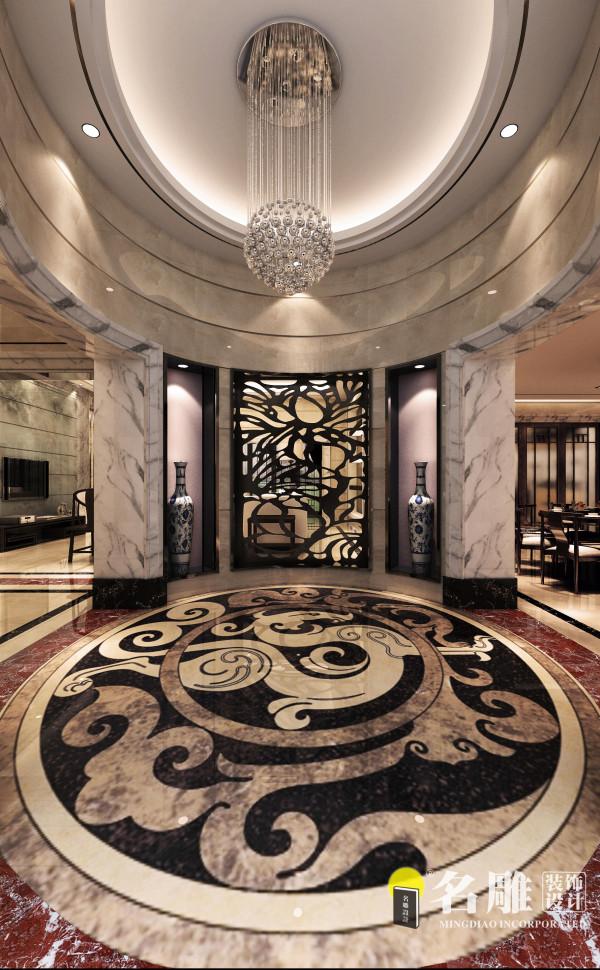 名雕装饰设计——玄关:古朴而不失华丽温情的装饰显得高贵大方,原石本色系列让整个空间充满温暖的气息。