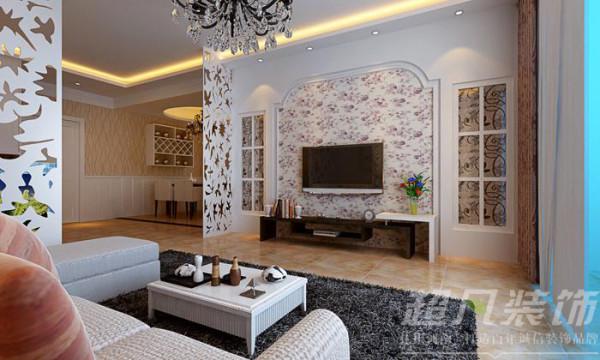 河南超凡装饰-雅宝东方国际两室现代简约装修案例(客厅)