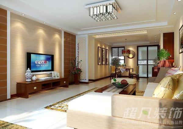 河南超凡装饰-非常国际四室两厅170平新中式装修案例客餐厅吊顶)