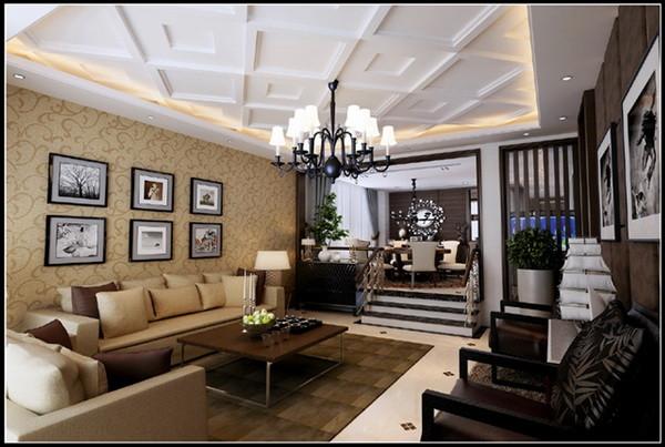 客厅:在客厅与阳台之间做风格处理,这样从视觉上显得挺会更大,沙发的后面采用了弧线造型  ,会显得比较大气,更有张力,电视墙那面色调以冷色为主,彰显大气。