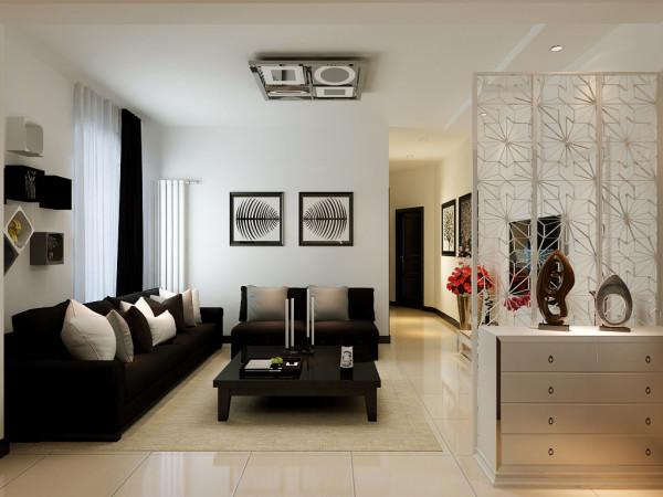 客厅咖啡色的沙发,配上灰白色的靠枕,很有品质感;墙面多宝阁设计,既可以收纳东西,还增添了空间艺术感。