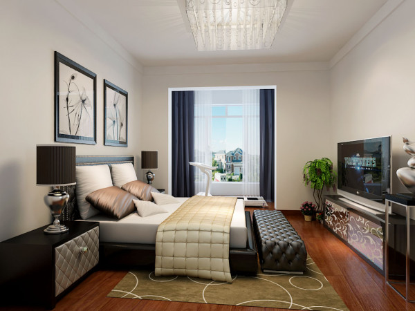 主卧墙壁选用米色调,搭配黑白色的家居布艺,卧室的质感不言而喻;没有任何复杂的造型,简单之中彰显出主人的生活品味。