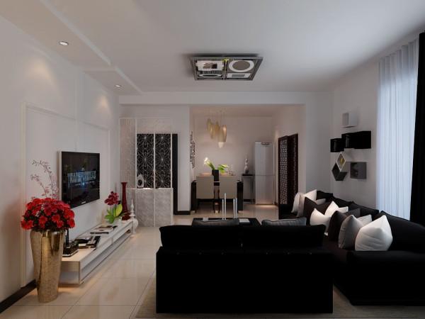换个角度看客厅,入户门巧妙的使用镂空屏风装饰,电视背景墙纯白色调,配上咖色的沙发显得很有档次。