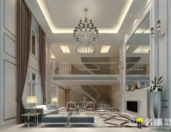 名雕装饰设计——客厅:双层挑空的大厅地面全部是精美的大理石装饰,墙面采用玻璃将明亮、开放、简约、大气的风格予以体现。
