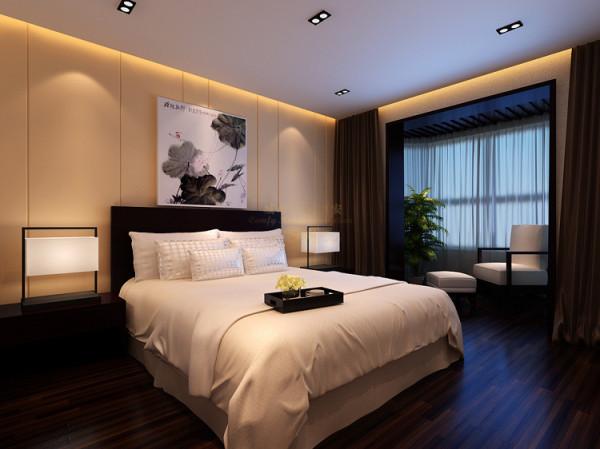 卧床头采用硬包和壁纸简洁大气。