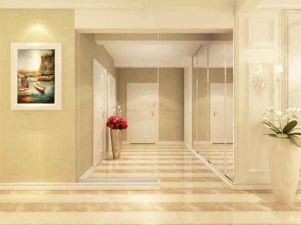 将多余的洗漱空间解放出来营造一个开放的中厅让整个空间更加宽阔通透并富有变化。