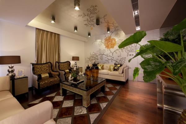 北京新天地后现代别墅装修-二楼客厅效果图