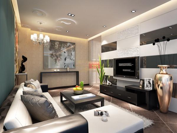 客厅整体以凹凸平顶,散光源灯光处理简单大气,顶上石膏花型处理与沙发旁木质雕花相互呼应。