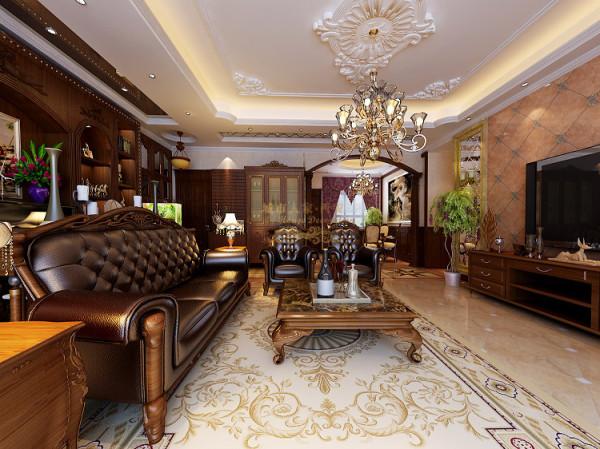 通过丰富的石材拼花\独特的造型顶面及玄关酒柜等设计手法来表现豪宅的氛围.