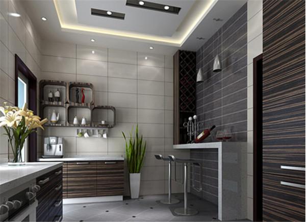 厨房的吧台设计简约而不简单,墙面的墙砖和整体的橱柜相协调,使整个空间更具有情调。