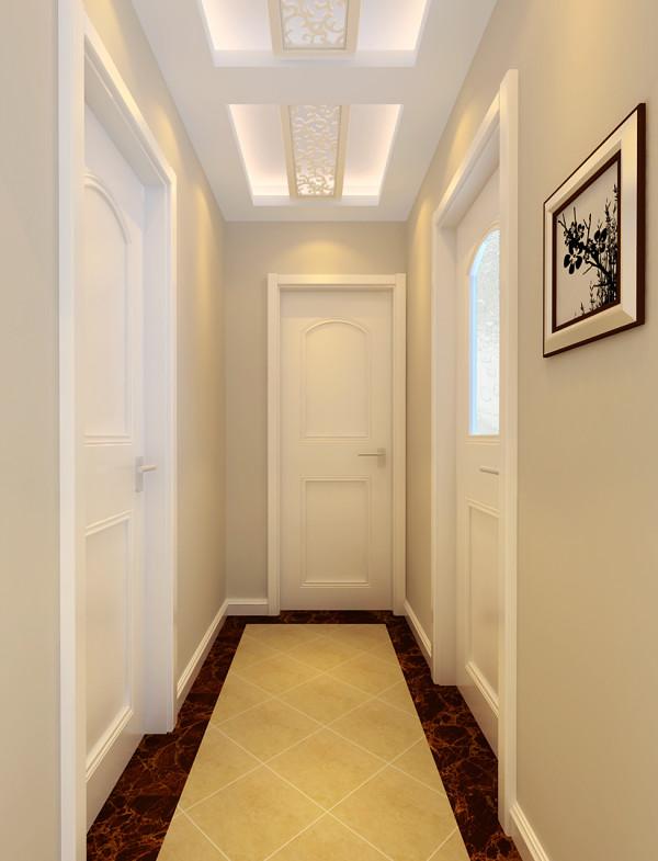 整个空间以白色为主,鹅黄色的地砖、红色的过门石,配上白色的门,简单而不乏味。过道吊顶稍作修饰,增添了美感。
