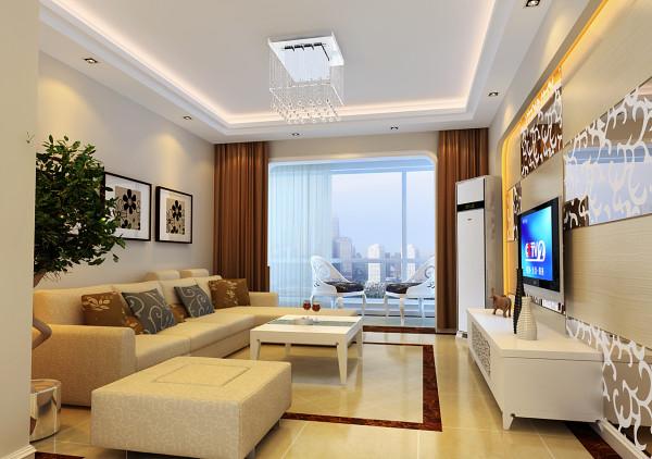现代简约的风格渗透在空间的每个细节中。客厅暖色的墙壁地面、简单的造型顶、咖啡色的窗帘布艺,空间大气优雅。