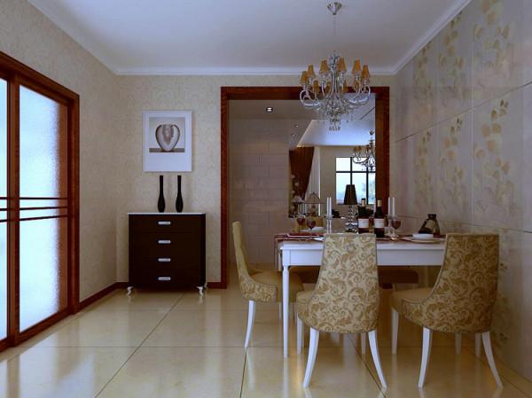 餐厅墙面也使用了带有金蝶纹路的墙面装饰砖,凸显墙面的质感,也更实用即便有污渍溅到墙面女主人也可轻松清理。地面选用带有纹理感的瓷砖,使地面看起来更灵动不会显的呆板,单调。