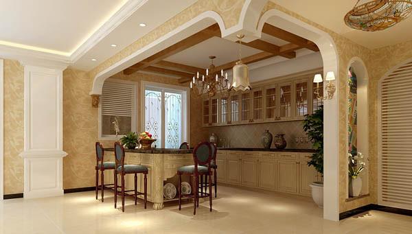 餐厅与客厅分隔是通过两根白色罗马柱和连续两个弧型拱,拱的中央设计一个金色铃铛,女主人对生活细结追求,女主人准备好丰盛晚餐,女主人轻轻晃动铃铛晚餐开始,体现主人品味。
