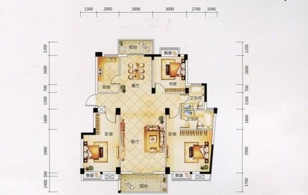 华星融城128平三居室简约混搭风格时尚美
