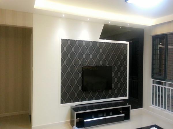 客厅电视墙实景照片